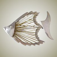 Vintage Modernist FISH Pin in Brass Wire and Sterling Silver - Taxco Mexico FISH Brooch