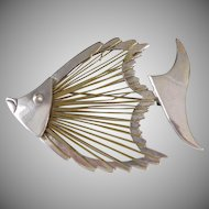 Modernist Taxco Mexican Sterling 925 FISH Brooch - FISH Pin in Brass Wire and Sterling Silver