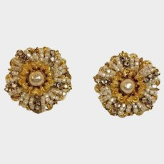 Vintage Miriam Haskell Glass BAROQUE PEARL Earrings with Seed Pearls and Rhinestones