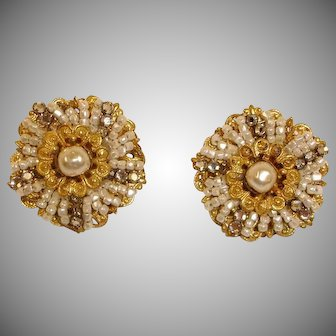 Vintage  Miriam Haskell Baroque Pearl Earrings with Seed Pearls and  Rose Montees