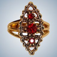 Vintage Gold Tone Marquee Setting Sarah Coventry Ring w Red Faceted Stones -  Adjustable
