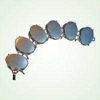 20% off - Vintage Bracelet - WIDE  Blue Oval THERMOSET and Silver Tone Bracelet