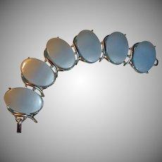 Vintage Bracelet - WIDE  Blue Oval THERMOSET and Silver Tone Bracelet