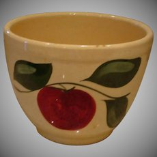 "Vintage  Watt Pottery Bowl – DEEP Apple and 3 Leaf Pattern Mixing  Bowl 6"" Deep"