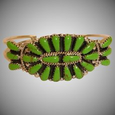 Estate Native American Hand Crafted Cluster Cuff Bracelet - Navajo Sterling Silver and Gaspeite  – Signed RW