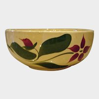 Vintage  Starflower Watt  Pottery Serving Bowl  - Yellow Ware Starflower Serving Bowl
