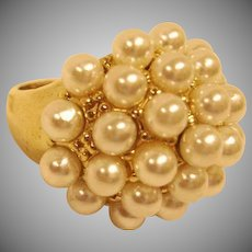 Estate Rings - Gold Tone Faux Pearl Cluster Ring - Glass Pearl Cocktail Ring - Size 6
