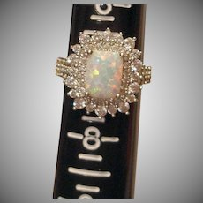Estate Faux Diamond and Faux Opal Ring  - Sterling Silver