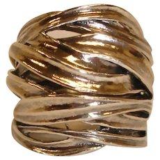 RING- Huge Sterling Silver Domed Cross-Over Ring