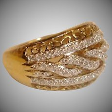 Estate 18K Clad and Sterling Silver Diamond Ring -Size 7 US