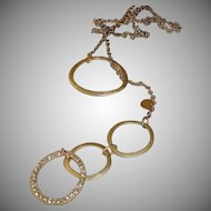 RETIRED Chico's  Necklace - Golden Rhinestone Circle Necklace