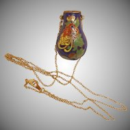 Vintage Cloisonne Pendant – Enamel Floral Urn Vase Necklace with Golden Chain