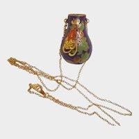 SALE - Vintage Cloisonne Pendant – Enamel Floral Vase Urn Necklace with Golden Chain