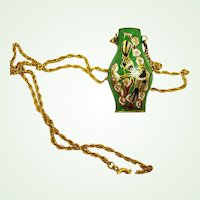 Vintage Cloisonne Pendant – Green Enamel Urn Vase Necklace with Golden Chain