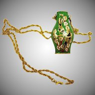 Vintage Cloisonne Pendant – Green Enamel Urn Vase Necklace with Golden Chain