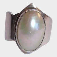 Vintage Sterling Silver Pearl RING - Signed Nakai