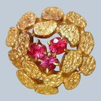 Vintage RING - 14K Yellow Gold and Pink Burmese Ruby Ring -FREE USA Shipping