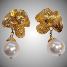 Vintage Clip On Earrings - Gold Tone and Faux Pearl  Dangle Drop Earrings