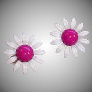 Vintage Enamel Magenta and White HUGE Daisy Pierced  Earrings