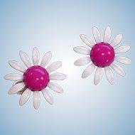 Vintage Enamel Magenta and White HUGE Daisy Pierced  Earrings