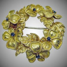 Vintage Tiffany & Co.  18K Gold and Sapphire Brooch Pin