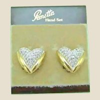 Vintage PANETTA Clip-on Earrings - Pave Crystal Rhinestone Gold Heart Earrings