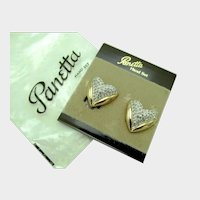 Vintage PANETTA Clip-on Earrings - Pave Crystal Rhinestone Gold Heart Earrings