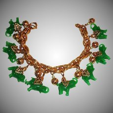 Vintage NAPIER Glass Elephant Charm Bracelet - Gold Tone with Jade Green Elephants