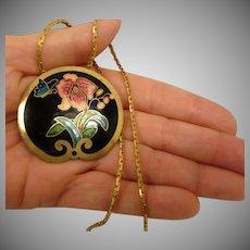 Vintage Gold Tone Cloisonné Enamel Pendant Necklace – Signed  SG