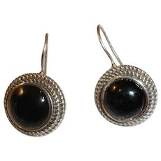 Vintage Black Onyx and Sterling Silver Pierced Earrings