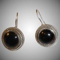 Vintage Black Onyx and Sterling Silver Pierced Earrings