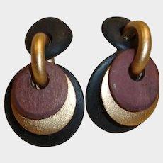 Vintage Dangle Drop Disk Post Pierced Earrings