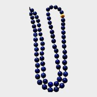 """1920's Art Deco Necklace - Lapis Lazuli Bead Necklace - 14K Yellow Gold Fluted Bead - 28"""" Long and 5 mm Beads"""