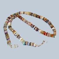 Vintage Natural Multi Gem Stone Heishi Disc Necklace