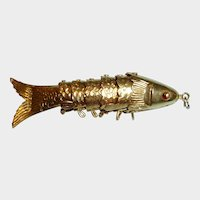 Vintage HONG KONG Gold Vermeil Over Silver Articulated Fish Pendant - Moving Pendant