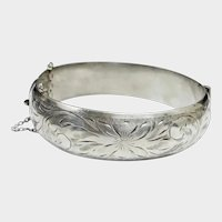 Antique Victorian Sterling Silver Bangle - Etched Floral Hinged Cuff Bracelet - 6-3/4""