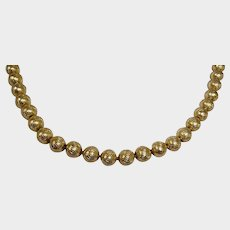 """Vintage Gold Plated Bead CROWN TRIFARI Necklace - Diamond Cut Wave Pattern 8 mm Beads - 19"""" Long"""