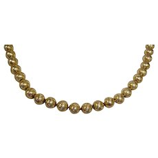 "Vintage Gold Plated Bead CROWN TRIFARI Necklace - Diamond Cut Wave Pattern 8 mm Beads - 19"" Long"