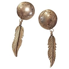 Vintage Lucille Ramone Sterling Silver Hand Created Earrings – Native American Made