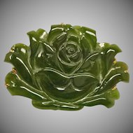 Antique Chinese Carved  Jade Flower Pendant Brooch Combination