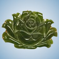 30% off - Antique Chinese Carved  Jade Flower Pendant Brooch Combination