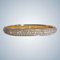 20% off - Vintage SWAROVSKI Gold Plated Crystal Rhinestone Hinged Bangle Bracelet - Early Swan Logo