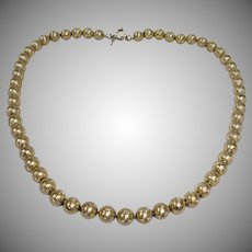 Vintage Gold Plated Bead CROWN TRIFARI Necklace - Diamond Cut Wave Pattern Beads