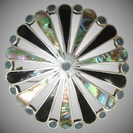 Vintage Sterling Silver Lapis Abalone& Onyx  Brooch / Pendant -  A.  Garcia Taxco Mexico