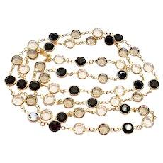 Vintage Swarovski Black Clear Gray Crystal Bezel Necklace with Swan Hang Tag