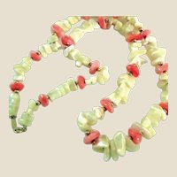 Napier Mother of Pearl and Faux Coral Necklace