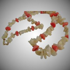 Vintage Napier Faux Coral and Mother of Pearl Necklace