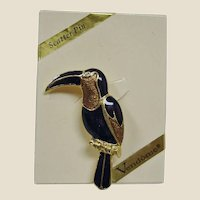 Vintage VENDOME Enamel Bird Scatter Pin - Toucan Bird Pin -  with Original Box