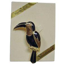Vintage VENDOME Enamel Bird Scatter Pin - Toucan Bird Pin -  with Original Box