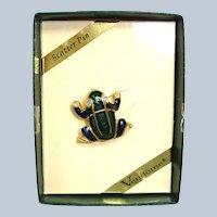 Vintage VENDOME Enamel FROG Scatter Pin - with Original Box